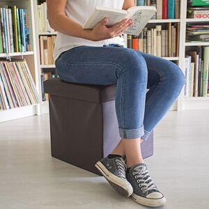 Braun Kunstleder-Sitzhocker mit Stauraum, braun