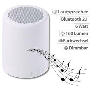 Lunartec 2in1-Lautsprecher, Bluetooth, Akku, LED-Tischleuchte 6 Watt, 160 Lumen