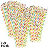 Pearl 300 Retro-Papier-Trinkhalme in 4 Farben, gestreift, lebenesmittelecht
