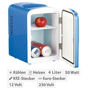 Rosenstein & Söhne Mini-Kühlschrank mit Warmhalte-Funktion, für 12 & 230 V, 4 Liter, blau