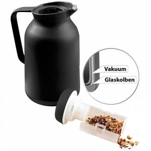 Rosenstein & Söhne 2in1-Vakuum-Isolierkanne für Kaffee und Tee, mit Teesieb, 1 Liter