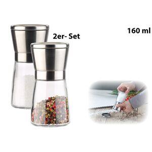 Pearl Manuelle Gewürzmühle mit Keramik-Mahlwerk, Glas und Edelstahl, 2er-Set