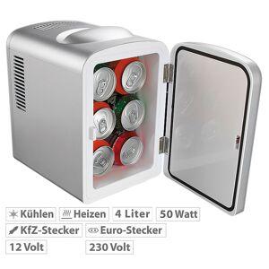 Rosenstein & Söhne Mobiler Mini-Kühlschrank mit Wärmefunktion, 4 Liter, 12 & 230 V