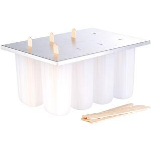 Rosenstein & Söhne Eis-am-Stiel-Bereiter mit 8 Eisformen und 24 Holzstielen, 2er-Set