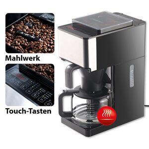 Rosenstein & Söhne Vollautomatische Filter-Kaffeemaschine, Kegelmahlwerk, Touch-Bedienung