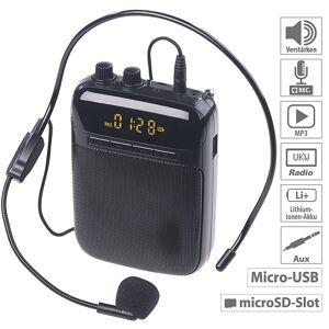 auvisio Digitaler Sprachverstärker, Aufnahme, Display, FM, USB, microSD, Akku