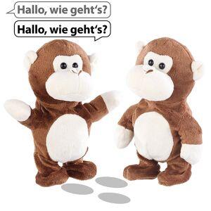 Playtastic 2er-Set sprechende Plüsch-Affen mit Mikrofon, sprechen nach, 22 cm
