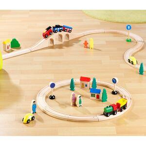 Playtastic Kleines Holz-Eisenbahn-Set mit 25 Teilen