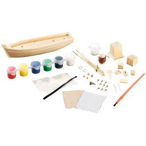 Playtastic 40-teiliger Schiff-Bausatz Fischkutter aus Holz
