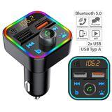 auvisio Kfz-FM-Transmitter mit Bluetooth 5, Freisprecher, MP3, 2 USB-Ladeports