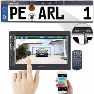 Creasono 2-DIN-MP3-Autoradio mit Touchdisplay und Funk-Rückfahr-Kamera