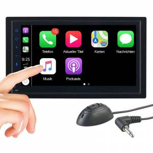 Creasono 2-DIN-Autoradio mit Freisprechfunktion, Apple CarPlay, 17,1-cm-Display