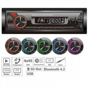 Creasono MP3-Autoradio mit Bluetooth & Freisprechfunktion, RDS, USB, SD, 4x45 W