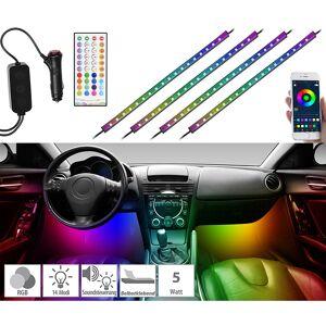 Lescars 4er-Set Kfz-LED-RGB-Streifen mit Fernbedienung, Bluetooth, App
