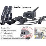 Callstel Motorrad-BT-Intercom-Headset, Fernbedienung, 1 km Reichweite, 2er-Set