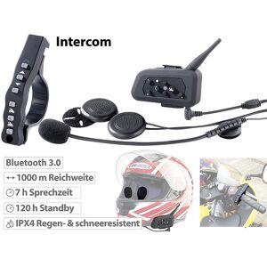 Callstel Motorrad-Intercom-Headset mit Bluetooth, Fernbedienung, 1km Reichweite