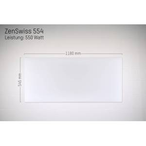 ZenSwiss Niedrigenergie-Infrarotheizung 550W / 54 cm x 118 cm (Matt Weiss)