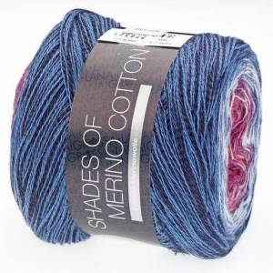 Lana Grossa Shades of Merino Cotton von Lana Grossa, Fliederpink/Violett/Weiss/Mittelblau/Blau/Schwarz