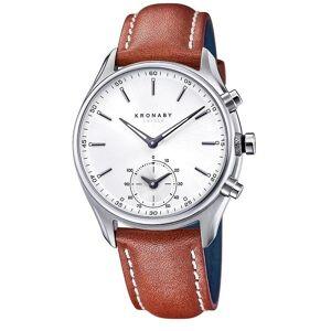 Kronaby S0713-1 Männer's Sekel Hybrid Smartwatch mit braunem Leder Saphir/Edelstahl/Sterling Silber