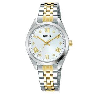 Lorus Damen poliert Silber Fall & Titan Armband mit weißen Zifferblatt Uhr
