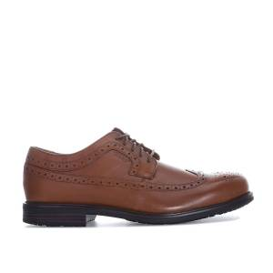Rockport Mens Rockport Essential Details 2 Wing Tip Shoes In Tan-Lace Braun UK 9