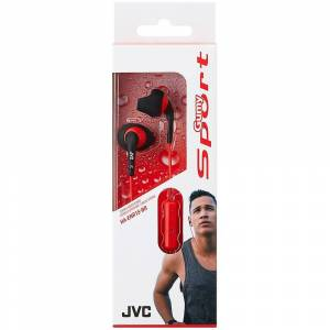 JVC Sport-JVC In-Ear Kopfhörer mit Fernbedienung und Mikrofon schwarz/rot (Modell-Nr. HAENR15BR)