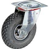 Luftreifen auf Stahlblech-Felge Rad-Ø x Breite 260 x 85 mm, Reifenprofil Block Lenkrolle, mit Rollenlager