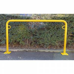 Fahrradanlehnbügel, 850 mm über Flur zum Aufdübeln U-förmig, Breite 1250 mm, gelb