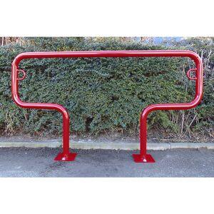 Fahrradanlehnbügel, 850 mm über Flur zum Aufdübeln T-förmig, Breite 1500 mm, rot