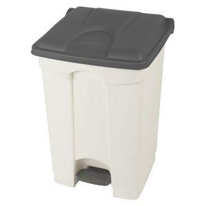 Kunststoff-Tretabfallsammler Volumen 45 l, BxHxT 410 x 600 x 400 mm weiß, Deckel grau