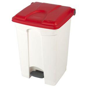 Kunststoff-Tretabfallsammler Volumen 45 l, BxHxT 410 x 600 x 400 mm weiß, Deckel rot