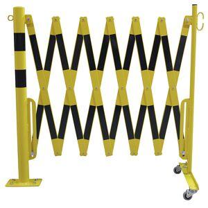 Sperrpfosten mit Scherengitter Rundrohr Ø 60 mm, zum Aufdübeln gelb / schwarz, Länge max. 4000 mm