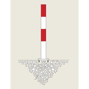 Sperrpfosten zum Aufdübeln, Ø 90 mm rot-weiß kunststoffbeschichtet, 1 Öse