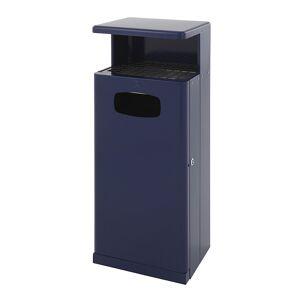 Abfallsammler mit Ascherdach, Aluminium Volumen 55 l, BxHxT 345 x 1030 x 400 mm blau