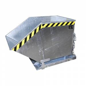 Kippmulde mit Klappmechanismus kastenförmig, Volumen 0,4 m³ feuerverzinkt nach EN ISO 1461