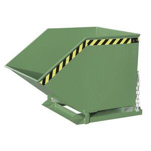 Kippmulde mit Klappmechanismus kastenförmig, Volumen 0,8 m³ grün RAL 6011