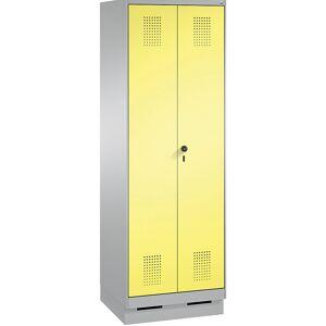 CP EVOLO Garderobenschrank, zueinander schlagende Türen 2 Abteile, Abteilbreite 300 mm, mit Sockel weißaluminium / schwefelgelb
