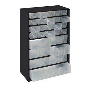 Schubladenmagazin, HxBxT 460 x 306 x 155 mm 27 Schubladen Polypropylen tiefschwarz