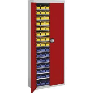 mauser Magazinschrank HxBxT 1740 x 680 x 280 mm, mit Sichtlagerkästen, zweifarbig Korpus grau, Türen rot, 90 Kästen