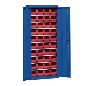 EUROKRAFT Materialschrank mit Lagerkästen Höhe 1575 mm, 9 Fachböden enzianblau