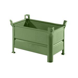 Heson Vollwand-Stapelbehälter, BxL 500 x 800 mm Füllhöhe 400 mm, Traglast 500 kg grün, ab 10 Stk