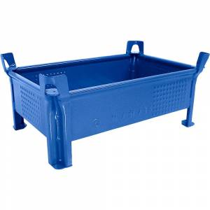 Heson Stapelbehälter aus Stahlblech, niedrige Bauform, Wände geschlossen BxL 500 x 800 mm, Traglast 500 kg blau, ab 5 Stk