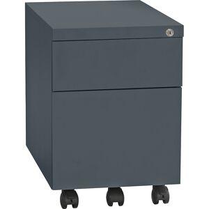 QUIPO Rollcontainer, Stahl 1 Stiftschale, 1 Materialschub, 1 Hängeregistratur Tiefe 590 mm, basaltgrau