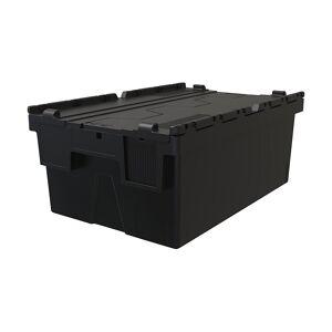 Mehrweg-Stapelbehälter, VE 5 Stk LxBxH 600 x 400 x 250 mm schwarz, Deckel schwarz