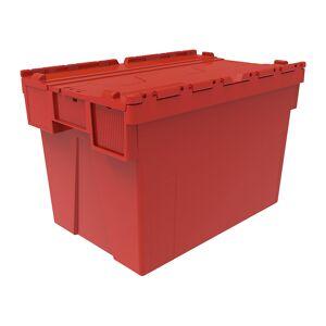Mehrweg-Stapelbehälter, VE 5 Stk LxBxH 600 x 400 x 400 mm rot, Deckel rot