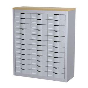Sortierstation mit Schubladen 3 Reihen, 36 Schubladen, alufarben