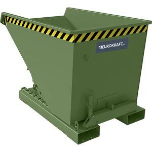 EUROKRAFT Kippbehälter mit Abrollmechanismus, Stahlblech Volumen 0,3 m³, LxBxH 1260 x 770 x 835 mm grün