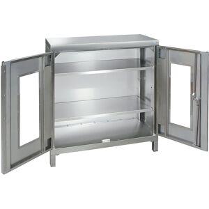 Edelstahl-Flügeltürschrank mit Sichtfenstertüren und Vierkant-Sockelfüßen HxBxT 1000 x 900 x 400 mm
