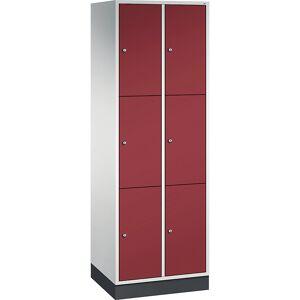 CP INTRO Stahl-Schließfachschrank, Fachhöhe 580 mm BxT 620 x 500 mm, 6 Fächer Korpus lichtgrau, Türen rubinrot