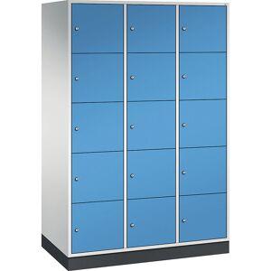 CP INTRO Stahl-Schließfachschrank, Fachhöhe 345 mm BxT 1220 x 600 mm, 15 Fächer Korpus lichtgrau, Türen lichtblau